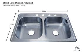 33x22 Copper Kitchen Sink by Stainless Steel Double Bowl Kitchen Sink 33