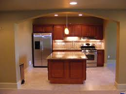 KitchenImpressive Basement Kitchens Ideas Showing Wooden Kitchen Cabinet Complete White Marble Countertop Also Small