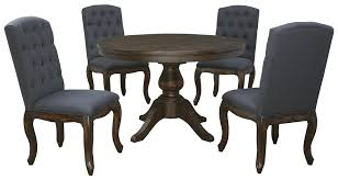 5-Piece Round Dining Table Set With Upholstered Side Chairs By ... Trisha Yearwood Home Music City Hello Im Gone Ding Room Table Grey Griffin Cutback Upholstered Chair Along With Dark Wood Amazoncom Formal Luxurious 5pc Set Antique Silver Finish Tribeca Round And 2 Upholstered Side Chairs American Haddie Light Tone 4 Value Hooker Fniture Corsica Rectangle Pedestal Matisse With W Ladder Back By Paula Deen Vienna Merlot Kayla New
