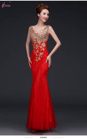 wholesale 2015 elegant mermaid evening dress gold appliques long
