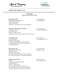 Reference Page Format Resume 4 Sample Template Http Www For