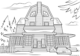 Scary Halloween Coloring Pictures To Print scary haunted house halloween coloring pages printable
