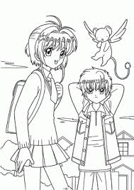 Sakura With Friend Coloring Pages For Kids Printable Free