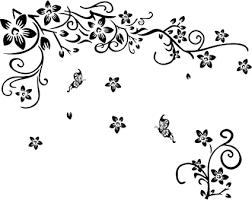 amaonm abnehmbare vinyl schwarz blumen und flower vines wandaufkleber diy home decor wandaufkleber wandtattoo wandsticker deko wandmalereien für