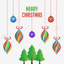 Merry Christmas Colorful Hanging Decoration With Xmas Tree Vector