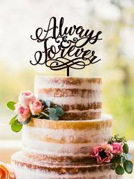 Wedding Cake Topper Always Forever Unique Wood Rustic Gold