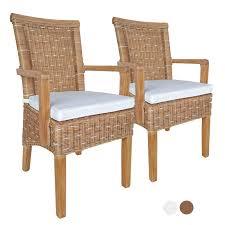 esszimmer stühle set mit armlehnen 2 stück rattanstuhl braun perth