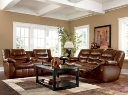 Living Room With Brown Furniture Warm