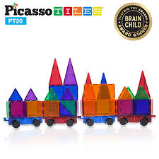 Picasso Tiles Magnetic Building Blocks by Picassotiles 2 Piece Car Truck Set W Extra Long Bed U0026 Re