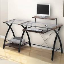Walker Edison 3 Piece Contemporary Desk Multi by Z Line Belaire L Shaped Glass Top Computer Desk In Black Best