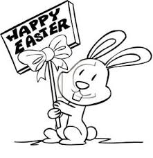 Black and White Cartoon of an Easter Bunny Holding a Happy Easter