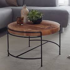 wohnling couchtisch 62x40x62 cm sofatisch akazie massivholz metall wohnzimmertisch rund mit metallbeinen kleiner designer tisch massiv