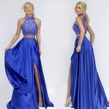 two piece prom dress long prom dre royal blue prom dresses