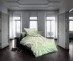 fleuresse mako satin bettwäsche 155x220 paisley grün weiss