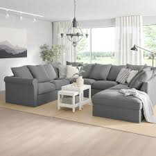 grönlid u shaped sofa 6 seat with open end ljungen medium grey