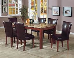 7PCS Granite Top Dining Table 6 Brown Parson Chairs Set