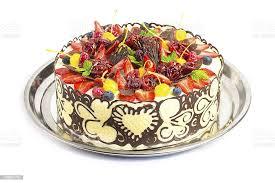 festliche torte mit früchten und schokolade stockfoto und mehr bilder apfel