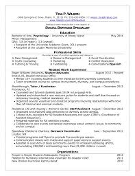 Sample Resume For Psychology Majors