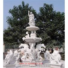 White Marble Outdoor Garden Wall Fountain with Figure Statues Baby