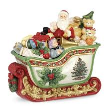 Spode Christmas Tree Mugs by Spode Christmas Tree Santa In Sleigh Cookie Jar 12 5 Inch Kitchen
