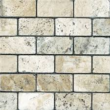 2 inch x 4 inch tumbled picasso travertine brick mosaic tile