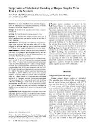 Herpes Viral Shedding Frequency by Suppression Of Subclinical Shedding Of Herpes Simplex Virus Type 2