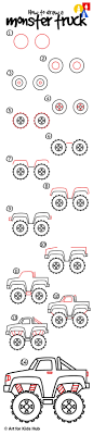 How To Draw A Monster Truck - Art For Kids Hub - | Monster Trucks ... How To Draw A Vintage Truck Fire Step By Teaching Kids How Draw Cartoon Dump Truck Youtube Monster Step Trucks Transportation Speed Drawing Of To A Race Car Easy For Junior Designer An F150 Ford Pickup Sketch Drawing Dolgularcom Click See Printable Version Connect The Dots Delivery With Hand Stock Vector Art Illustration 18 Wheeler By 2 Ways 3d Hd Aston
