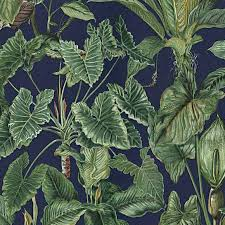 Erismann Wallpapers Paradisio Blue Green Jungle Leaves Wallpaper