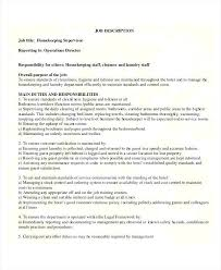 Resume Examples For Hospital Jobs Packed With Housekeeping On Job Description
