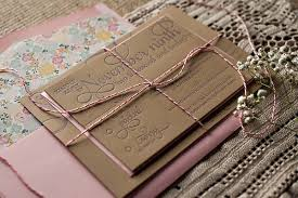 Pink White Bakers Twine Wedding Invites
