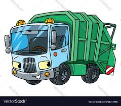 Funny Garbage Truck Car With Eyes Royalty Free Vector Image