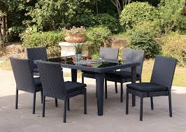 Black Resin Wicker 7 PC Patio Dining Set Outdoor Wicker Chairs Table Cosco Malmo 4piece Brown Resin Patio Cversation Set With Blue Cushions Panama Pecan Alinum And 4 Pc Cushion Lounge Ding 59 X 33 In Slat Top Suncrown Fniture Glass 3piece Allweather Thick Durable Washable Covers Porch 3pc Chair End Details About Easy Care Two Natural Sorrento 5 Cast Woven Swivel Bar 48 Round Jeco Inc W00501rg Beachcroft 7 Piece By Signature Design Ashley At Becker World Love Seat And Coffee Belham Living Montauk Rocking