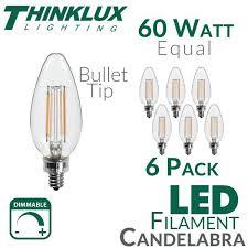 60 watt equal led filament candelabra light bulb b11 earthled