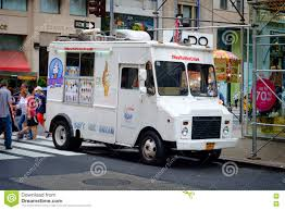 White Ice Cream Truck In New York City Editorial Stock Image - Image ...