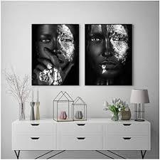 schwarz silber afrikanische kunst frau malerei auf leinwand poster und print skandinavischen wandbild für wohnzimmer decor 50x70cm kein rahmen