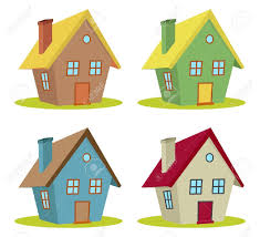 100 Four Houses Set Of With Color Changes Royalty Free Cliparts Vectors