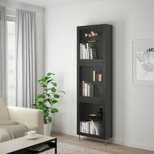 bestå vitrine schwarzbraun sindvik stallarp klarglas sbr 60x22x202 cm
