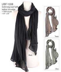 long scarf with faux leather trim wholesale scarves