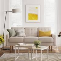vasagle sofa bezug aus polyester gestell und beine aus massivholz polstermöbel modernes design 182 x 80 5 x 84 cm beige lcs101m01