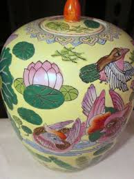 Spode Christmas Tree Village Cookie Jar by Ginger Jar Vase Lid Birds Lotus Flower Cranes Dragon Fly Yellow
