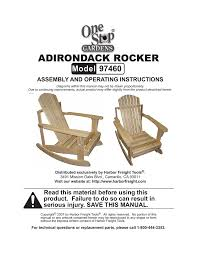 Adirondack Rocker - Harbor Freight Tools   Manualzz.com Adirondack Plus Chair Ftstool Plan 1860 Rocking Plans Outdoor Fniture Woodarchivist Wooden Templates Resume Designs Diy Lounge 10 Weekend Hdyman And Flat 35 Free Ideas For Relaxing In Adirondack Chair Plans Mm Odworking Tools Tips Woodcraft Woodshop Woodworking Project To Build 38 Stunning Mydiy