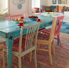 KitchenUnique Colorful Kitchen Tables Ideas Distressed Table And Chairs Would Use Different Colours For