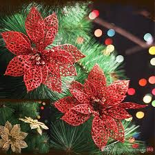 Shiny Christmas Flower Poinsettia Tree Decoration Artificial Flowers Wedding Party Festive Supplies A