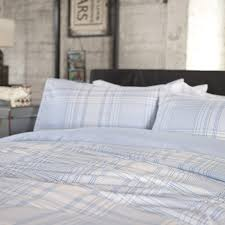 Bed Cover Sets by Studio 1846 Level Crossing Blue Checked Duvet Cover Set Dove Mill