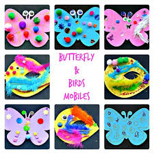 Spring Crafts For Kids Birds And Butterfly Mobiles