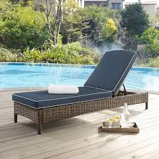 KO70070WB NV Navy Outdoor Wicker Chaise Lounge