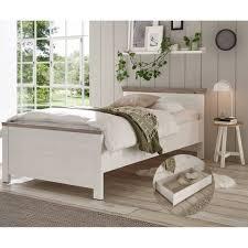 lomadox schlafzimmer set ferna 61 spar set 2 tlg einzelbett 100x200 cm inkl bettschublade im landhausstil pinie weiß nb mit absetzungen in