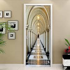 diy tür aufkleber goldenen römischen spalte korridor tapete pvc wasserdichte selbst adhesive poster wohnzimmer schlafzimmer tür decor wandbild