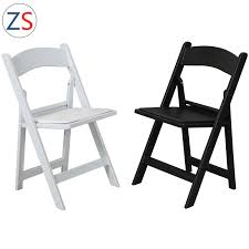 [Hot Item] White Black Outdoor Wedding Plastic Folding Chair With Cushion