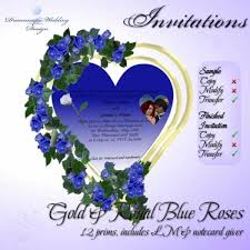 Wedding Invitation Gold Royal Blue Roses Weddinginvitation Goldroyalblueroses
